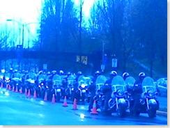 Motorcade of cops on Harleys to escort