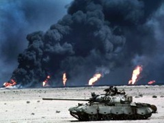 Oil fields set ablaze by Iraqi military forces burn off following the US-led coalition invasion in the first gulf war. A decade on, the destruction of oil services infrastructure is only now coming back on-line as foreign investments flow much needed capital and resources into the region.