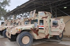The Iraqi army recently took ownership of 8,500 refurbished Humvee vehicles. In addition to new vehicles, the army procured 80,000 new M-16 rifles and more than 12,000 Single-Channel Ground-Air Radio Systems, or SINGARS radios. Photo Credit: U.S. Army.