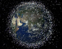 This image provided by the European Space Agency shows and artist impression of catalogued objects in low-Earth orbit viewed over the Equator. Scientists are keeping a close eye on orbital debris created when two communications satellites smashed into each other hundreds of miles above Siberia Tuesday Feb. 10, 2009.