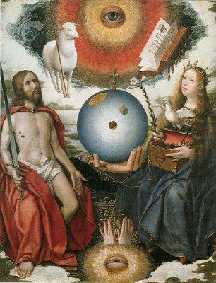 Allégorie chrétienne, Le cosmos sous l'oeil et dans la main de Dieu en présence du Christ-Juge et de l'Église, Jan Provost 1510