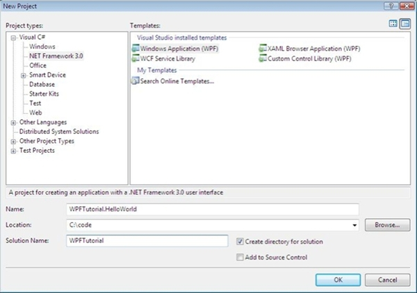 The new project dialog after installing .Net 3.0 support.